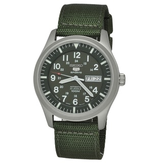 Seiko Men's 5 Sports SNZG09K1 Green Nylon Strap Watch