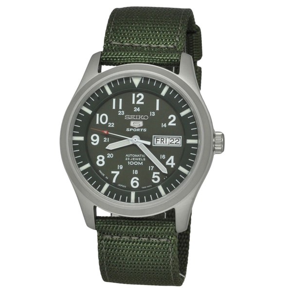 Seiko Men's SNZG09 '5' Automatic Green Canvas Watch