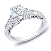 Auriya 14k Gold 1 1/4 ct TDW Filigree Cut-Out Round Diamond Engagement Ring