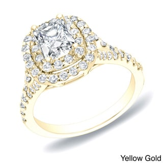 Auriya 14k Gold 1 1/4ct TDW Cushion Double Halo Diamond Engagement Ring (H-I, SI1-SI2)