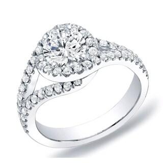 Auriya 14k Gold 1 1/4 ct TDW Round Halo Diamond Engagement Ring