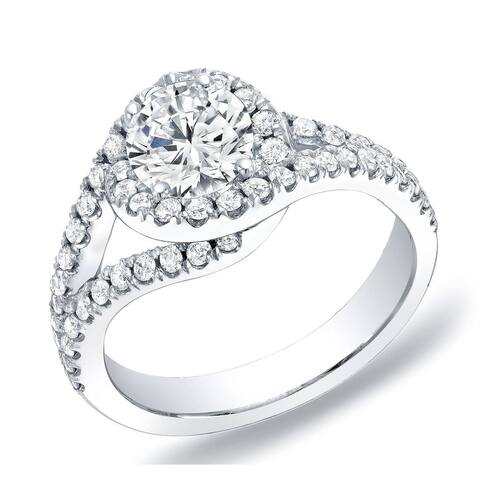 Auriya 14k Gold 1 1/4cttw Modern Halo Diamond Engagement Ring