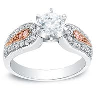 Auriya Vintage 1ct TDW Round Diamond Engagement Ring with Pink Diamond Accents  14k Two-Tone Gold