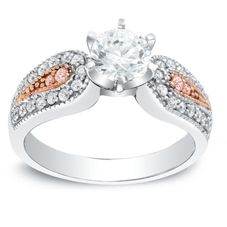 Auriya 14k Gold 1 1/3ct TDW Certified Pink and White Diamond Engagement Ring (H-I, SI1-SI2)