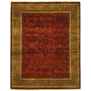 Safavieh Couture Hand-knotted Ganges River Shantell Traditional Oriental Wool Rug with Fringe (10 x 14 - Rust/Green)