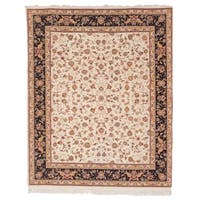 Safavieh Hand-knotted Tabriz Floral Ivory/ Green Wool/ Silk Rug - 12' X 18'