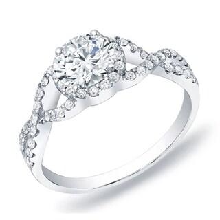 Auriya 14k Gold 3/4ct TDW Certified Round Diamond Halo Braided Twist Engagement Ring