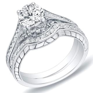 Auriya 14k Gold 1 carat TW Carved Diamond Engagement Ring Set