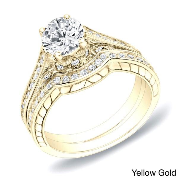 Auriya 14k Gold 1ct TDW Certified Diamond Curved Band Bridal Ring Set