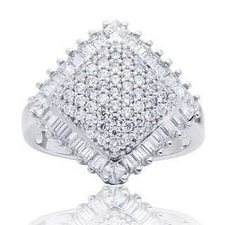 Blue Box Jewels Rhodium-plated Silver Diamond Shape Cocktail Ring