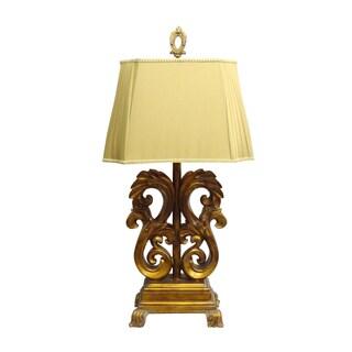 Goldtone Scroll Leaf Table Lamp