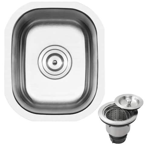"12 3/4"" Ticor S705 Haven Series 16-Gauge Stainless Steel Undermount Single Basin Kitchen and Bar Sink"