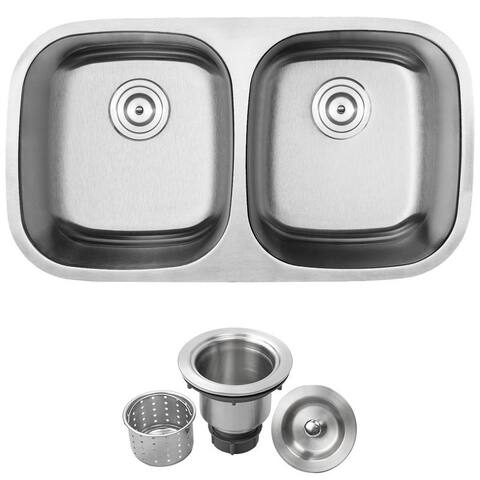 "32 1/2"" Ticor L2 Foster Series 18-Gauge Stainless Steel Undermount Double Basin Kitchen Sink"