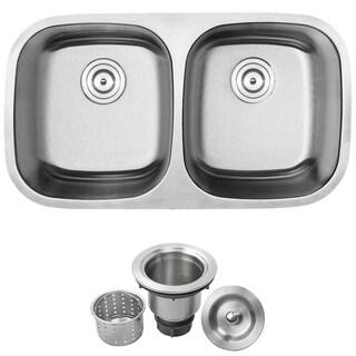 phoenix 32inch stainless steel 18 gauge undermount double bowl kitchen sink
