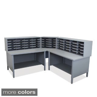 Marvel 50-slot Sorter and Two-storage Shelf Corner Mailroom Organizer