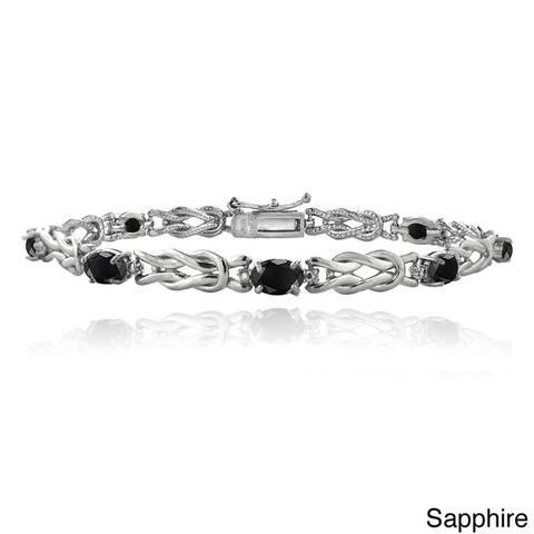 Glitzy Rocks Sterling Silver 3 1/2ct TGW Gemstone and Diamond Accent Oval Love Knot Bracelet