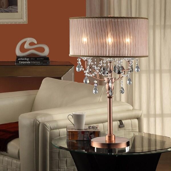 TRIBECCA HOME Blais 3-light Copper Crystal Sheer Shade Table Lamp