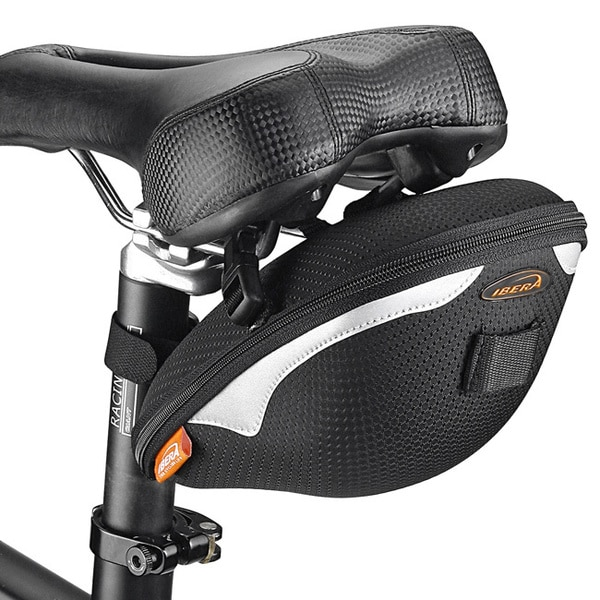 Ibera IB-SB9 Bike Strap-On Wide Opening Saddle Seat Pack Bag with Buckle Strap