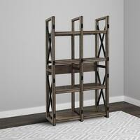 Avenue Greene Woodgate Rustic Brown and Grey Metal Frame Bookcase/Room Divider