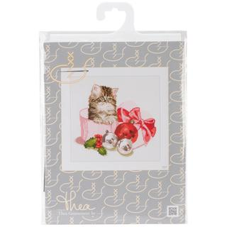 Christmas Kitten On Aida Counted Cross Stitch Kit - 12-1/4 X11-3/4  16 Count