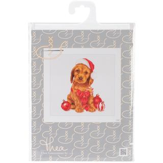 Christmas Puppy On Aida Counted Cross Stitch Kit - 12-1/4 X11-3/4 16 Count