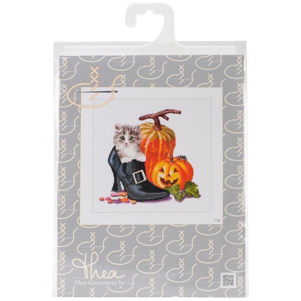 Shop Halloween Kitten On Aida Counted Cross Stitch Kit
