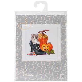 Halloween Kitten On Aida Counted Cross Stitch Kit - 12-1/4 X11-3/4 16 Count
