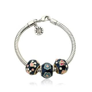 Little Miss Twin Stars Super Star Cutie Blue Enamel Children's 3 Slides Bracelet