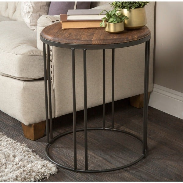 Burnham reclaimed wood and iron round side table by kosas for Iron and wood side table