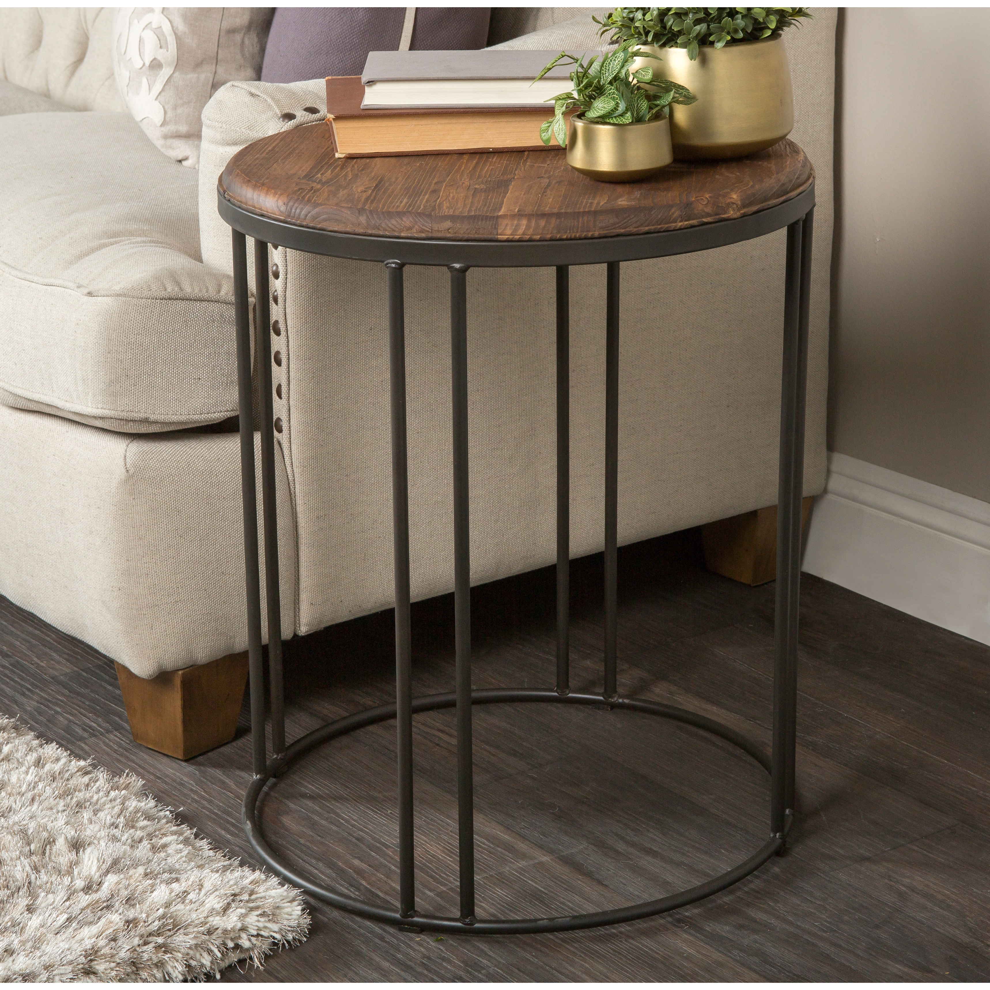 Industrial Side Table Wooden Round Tabletop Metal Frame Distress Black Legs
