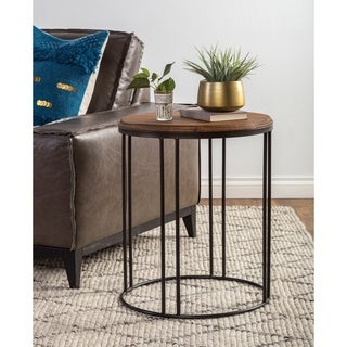 Burnham Reclaimed Wood and Iron Round Side Table by Kosas Home