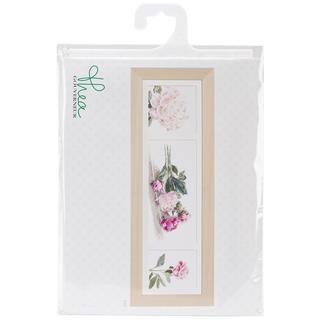 Peonies On Linen Counted Cross Stitch Kit - 32-1/4 X7-3/4 36 Count