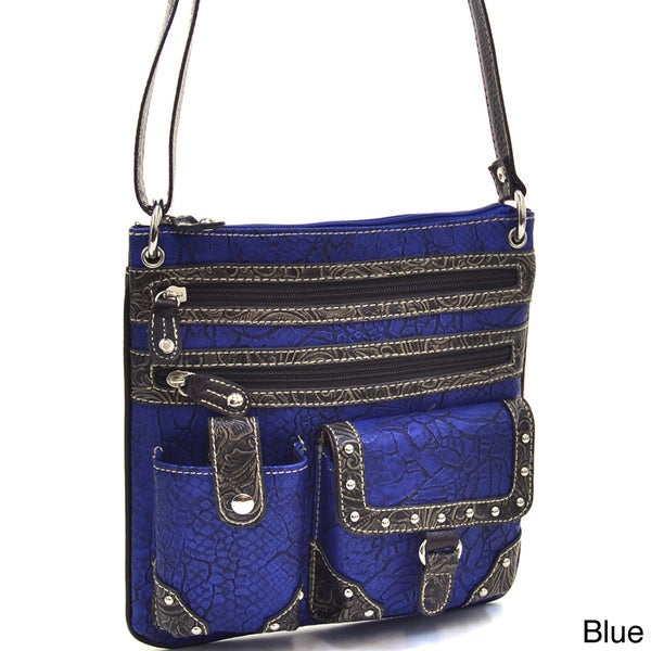 Western Messenger Crossbody Bag with Floral-embossed Trim
