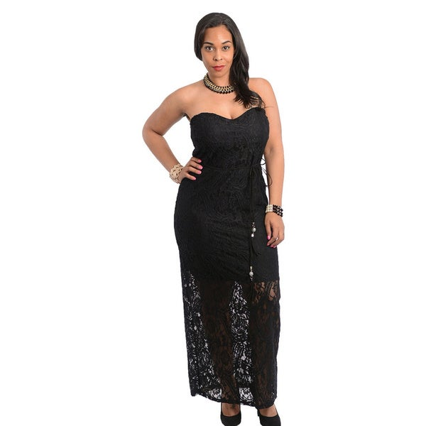 Stanzino Women's Plus Size Black Strapless Long Dress