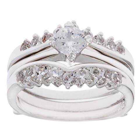 Dutchess 2-piece CZ Engagment / Bridal Set Ring by Simon Frank Designs