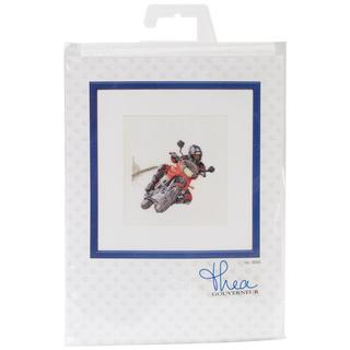Motorcyclist On Aida Counted Cross Stitch Kit - 6-1/4 X6-3/4 18 Count