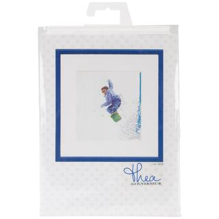 Snowboarder On Aida Counted Cross Stitch Kit - 6-1/4 X6-3/4 18 Count