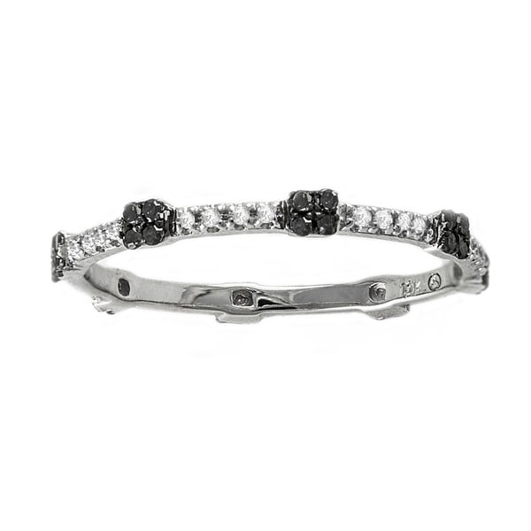 Beverly Hills Charm 10k White Gold 1/6ct Black and White Diamond Stackable Eternity Band Ring