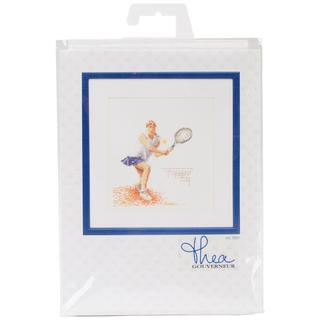 Tennis On Linen Counted Cross Stitch Kit - 6-1/4 X6-3/4 36 Count