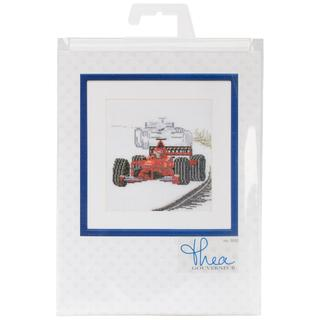Motor Racing On Linen Counted Cross Stitch Kit - 6-1/4 X6-3/4 36 Count