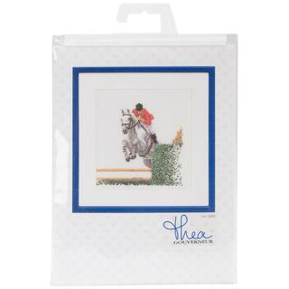 Showjumper On Linen Counted Cross Stitch Kit - 6-1/4 X6-3/4 36 Count