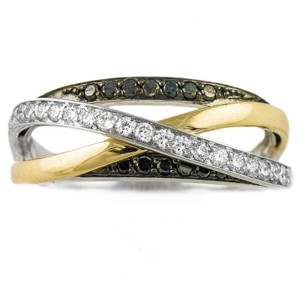 10k Yellow Gold 1/2ct TDW Multi-Row Crossover Black and White Diamond Ring