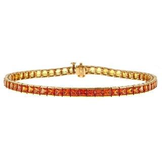 14k Yellow Gold 12 1/2ct TGW Orange to Yellow Sapphire Bracelet