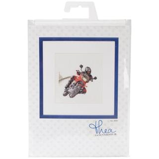 Motorcyclist On Linen Counted Cross Stitch Kit - 6-1/4 X6-3/4 36 Count