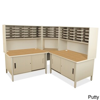 50-slot Riser Mailroom Organizer and Cabinets (Option: Off-White)