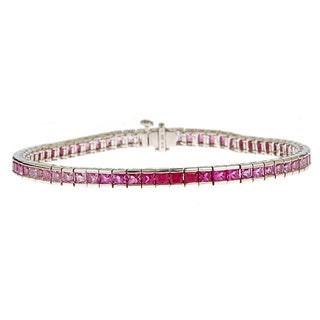 14k White Gold Pink Sapphire Graduated Bracelet