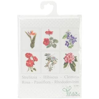 Floral Studies 1 On Linen Counted Cross Stitch Kit - 6-3/4 X8 36 Count Set Of 6