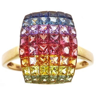 14k Yellow Gold 3 1/2ct TGW Multi Sapphire Gemstones Ring