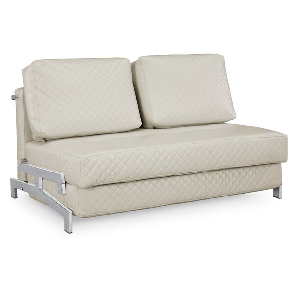 Serta St. Martin Ivory Bonded Leather Convertible Sleeper Sofa