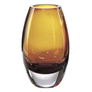 Radiant Amber Blown Glass and Crystal 9-inch Vase